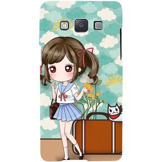 ifasho Cute Girl with bag and Small Cat Back Case Cover for Samsung Galaxy A7