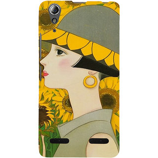ifasho Painted Girl and flower Back Case Cover for Lenovo A6000 Plus