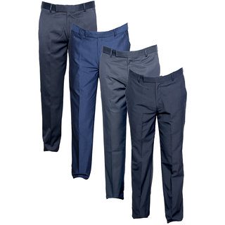 Indiweaves Men's Rayon Formal Trousers (Pack of 4)_Gray::Gray::Blue::Gray_Size: 30