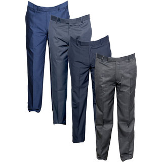 Indistar Men's Rayon Formal Trousers (Pack of 4)_Blue::Gray::Gray::Gray_Size: 30