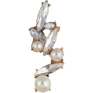 OOMPH's Gold & White Pearl & Crystal Fashion Jewellery Ear Cuff Earring for Women & Girls (Single Piece)