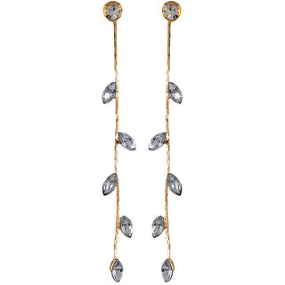 Fabula's Gold & White Zircon American Diamond AD CZ Jewellery Drop Earrings for Women, Girls & Ladies