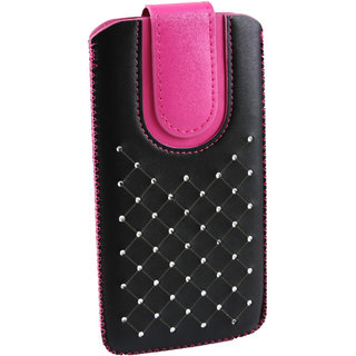 Emartbuy Black / Hot Pink Gem Studded Premium PU Leather Slide in Pouch Case Cover Sleeve Holder ( Size LM2 ) With Pull Tab Mechanism Suitable For Medion Life S5004