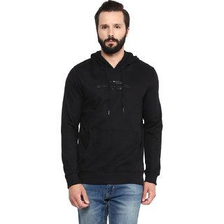 Fritzberg Men's Solid Black Hooded Sweatshirt