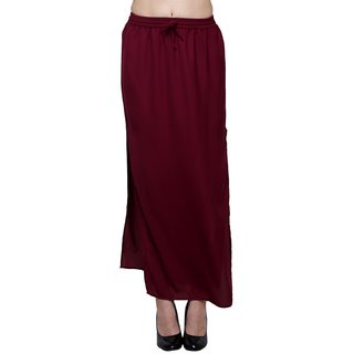 Global Elle Solid Georgette Maroon Women's Skirt
