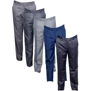 Indistar Men's Rayon Formal Trousers (Pack of 5)_Gray::Gray::Gray::Gray::Blue_Size: 30