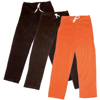 Indistar Women's Stretchable  Premium Cotton Lower/Track Pant(Pack of 3)_Brown::Brown::Brown::Orange_Free Size