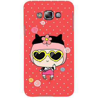 ifasho Cute Girl with Specs and Small Cat Back Case Cover for Samsung Galaxy E7