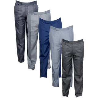 Indistar Men's Rayon Formal Trousers (Pack of 5)_Blue::Gray::Gray::Gray::Gray_Size: 30