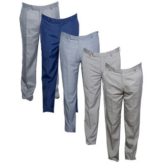 Indistar Men's Rayon Formal Trousers (Pack of 5)_Gray::Blue::Gray::Gray::Gray_Size: 30