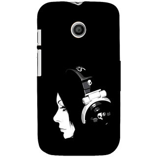 ifasho Girl with headphone Back Case Cover for MOTO E