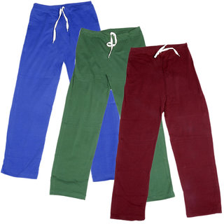 Indistar Women's Stretchable  Premium Cotton Lower/Track Pant(Pack of 3)_Blue::Green::Maroon_Free Size