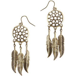 Fabula's Gold Dream Catcher Feather Fashion Jewellery Drop Earrings for Women & Girls