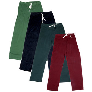 Indistar Women's Stretchable  Premium Cotton Lower/Track Pant(Pack of 4)_Green::Black::Gray::Maroon_Free Size
