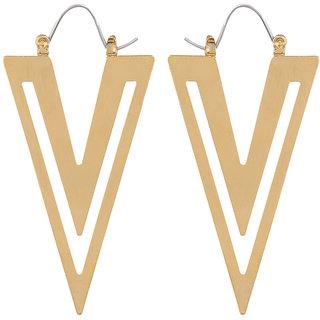 Fabula's Gold Geometric Jewellery Drop Earrings for Women & Girls