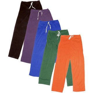 Indistar Women's Stretchable  Premium Cotton Lower/Track Pant(Pack of 5)_Brown::Brown::Purple::Blue::Green::Orange_Free Size