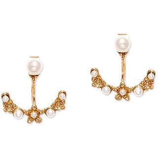 Fabula's Two-in-One Gold & White Pearl Traditional Ethnic Jewellery Drop Ear Stud Earrings for Women & Girls