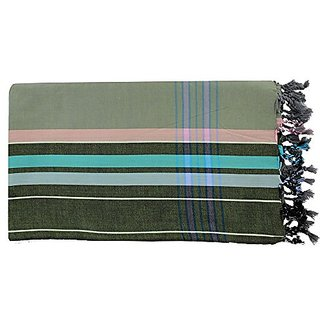 Kikoy Sarong Pareo Green Cotton with Salmon and Turquoise Stripes