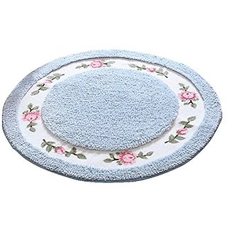 JSJ_CHENG Round Soft Cute Rose Floral Microfiber Area Rugs for Bedroom, Bathroom, Dining Room, Living Room, Kids Room, T