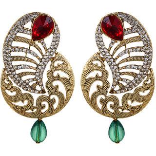 Fabula's Gold, Maroon Red & Green Zircon American Diamond AD CZ Crystal Traditional Ethnic Jewellery Kairi Drop Earrings for Women, Girls & Ladies