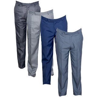 Indistar Men's Rayon Formal Trousers (Pack of 4)_Gray::Gray::Gray::Blue_Size: 30