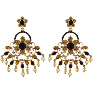 Fabula's Black, Gold & White Zircon American Diamond AD CZ & Pearl Traditional Ethnic Jewellery Chandelier Drop Earrings for Women, Girls & Ladies