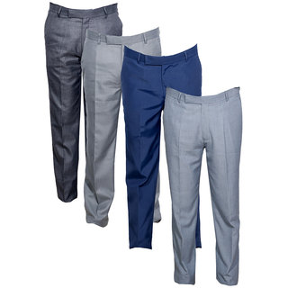 Indiweaves Men's Rayon Formal Trousers (Pack of 4)_Gray::Gray::Gray::Blue_Size: 30