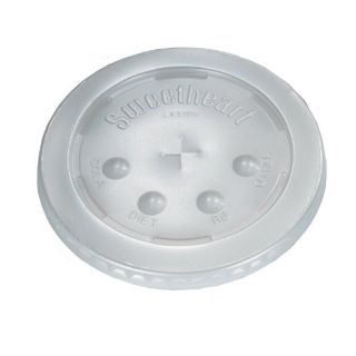SOLO LX33BN-0100 Polystyrene Flat Lid for Cold Cup, Straw Slots, Identification Buttons, 4.4