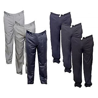 IndiWeaves Mens 3 Rayon Formal Trousers and 3 Lower/Track Pants Combo Offer (Pack of 6)_Gray::Black::Black::Gray::Gray::Gray_Size: 38 Lower- Free Size