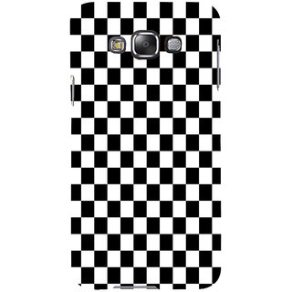 ifasho Squre and Checks In black and white Pattern Back Case Cover for Samsung Galaxy E7