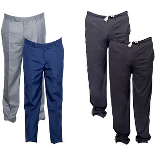 Indiweaves Mens 2 Rayon Formal Trousers and 2 Lower/Track Pants Combo Offer (Pack of 4)_Gray::Blue::Black::Black_Size: 38 Lower- Free Size