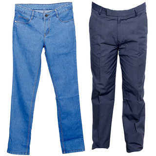 Indiweaves Men's 1 Formal Trouser and 1 Tullis Denim Jeans Combo Offer (Pack 1 Jeans and 1 Trouser)_Gray::Blue_Size:38