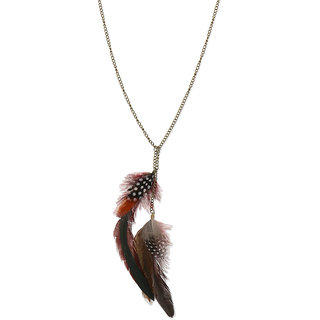 Fabula's Gold, Maroon & Black Feather Jewellery Pendant Necklace for Women, Girls & Ladies