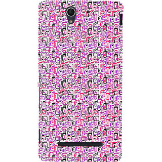 ifasho Colour Full Squre Pattern Back Case Cover for Sony Xperia C3 Dual
