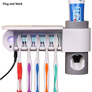 WAYCOM Toothpaste Squeezer and Holder Set Toothpaste Dispenser Family Toothbrush Sanitizer Sterilizer,5 Brush Holder (Wh