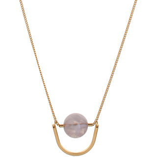 OOMPH's Gold & White Crystal Fashion Jewellery Pendant Necklace for Women, Girls & Ladies