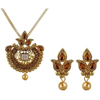 Fabula's Gold & White AD CZ Zircon American Diamond Pearl Traditional Ethnic Jewellery Necklace Set & Drop Earrings for Women,Girls & Ladies