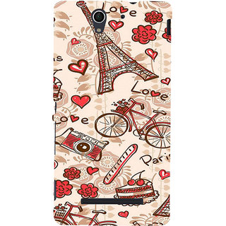 ifasho Modern Art Design Pattern Bicycle camera cake tower Back Case Cover for Sony Xperia C3 Dual