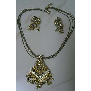 Beads Necklace with Ear rings set Fashion Jewellery