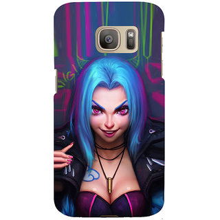 ifasho Blue hair Girl smiling Back Case Cover for Samsung Galaxy S7 Edge