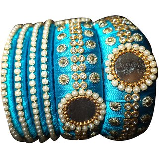 Mohana Silk Thread blue Silk Thread Bangles for Women(161-2.2)
