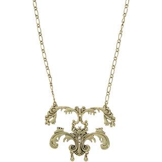 Fabula's Gold & White Crytsal Jewellery Pendant Necklace for Women, Girls & Ladies