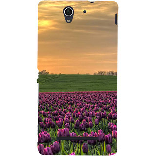 ifasho green Grass and purple flower at sunset Back Case Cover for Sony Xperia C3 Dual