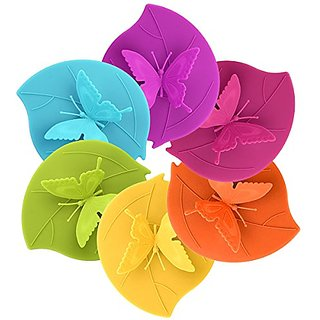 ME.FAM Forever Butterfly,set of 6 Pack in Different Color,diy Covers,food-grade Silicone Drink Covers,6-pack,spillproof,