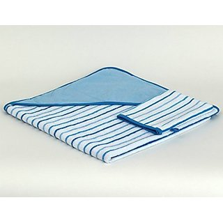TowelSelections Turkish Cotton Hooded Terry Velour Baby Bath Towel and Glove Set Made in Turkey Blue Striped