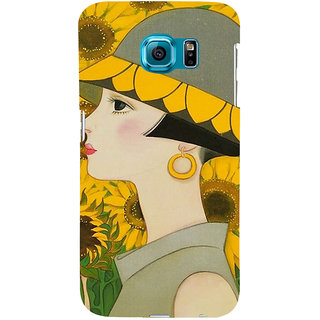 ifasho Painted Girl and flower Back Case Cover for Samsung Galaxy S6 Edge Plus