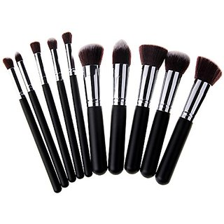 Unimeix 10 pcs Premium Synthetic Kabuki Makeup Brush Set Cosmetics Foundation Blending Blush Eyeliner Face Powder Brush