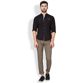Anand Brown Slim Fit Casual Wear Mens Solid Chinos