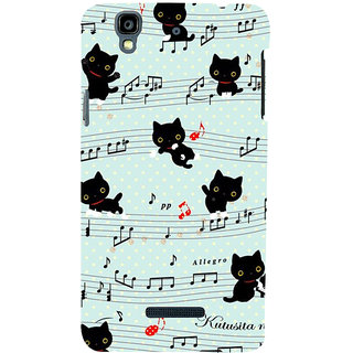 ifasho Animated Pattern design black and white music symbols and cats Back Case Cover for YU Yurekha