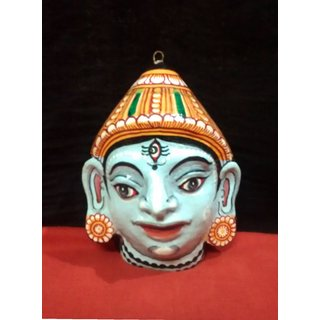 A beautiful handcrafted papier mache mask of Lord Kartikeya.